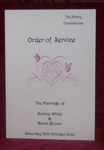 Order of service - Printed Butterfly Heart Design various colours x10
